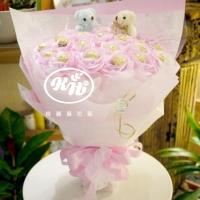 粉紅甜蜜金莎小熊花束【AA113】