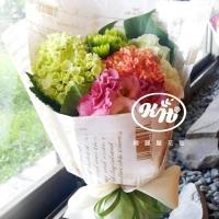 繽紛季節繡球桔梗花束【AA111】