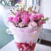 幸福在一起玫瑰小熊花束【AA127】高雄花店綺麗屋