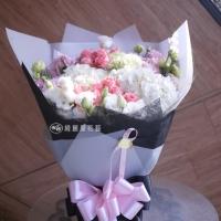 【AA126】白繡球花與粉玫瑰花束|高雄花店綺麗屋