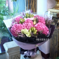 【AA125】粉紅繡球花花束|高雄花店綺麗屋