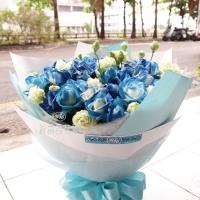 每天想的都是你藍玫瑰花束【AA150】 高雄花店綺麗屋