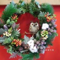 可愛貓頭鷹聖誕花圈【HA007】