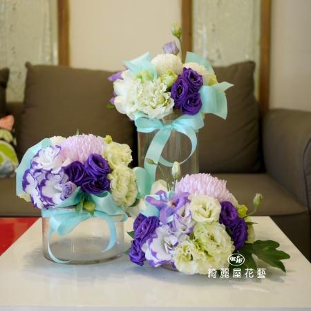 精緻玻璃花器桌花(1套)【EA086】