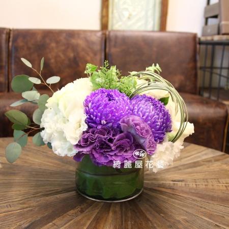 精緻玻璃花器盆花【EA087】