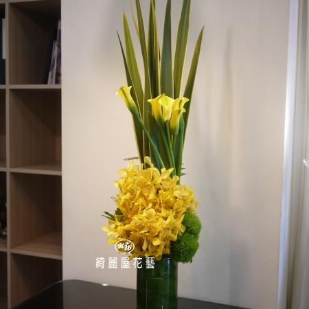 精緻玻璃花器盆花【EA088】