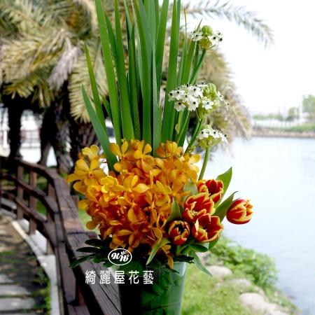 精緻玻璃花器盆花【EA089】