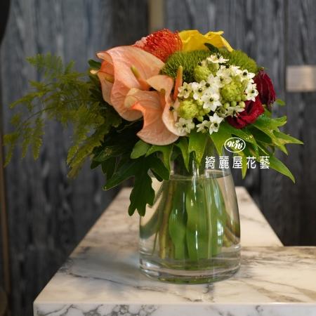 精緻玻璃花器盆花【EA090】