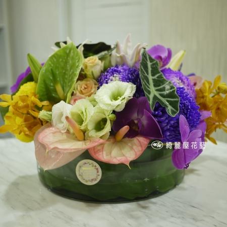 精緻玻璃花器盆花【EA091】