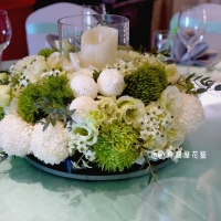精緻玻璃花器盆花【EA092】