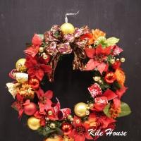 紅色繽粉聖誕花圈【HA006】