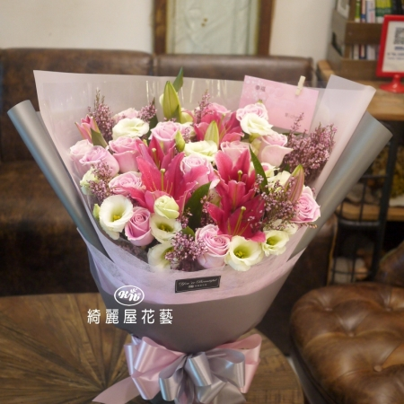 百合與玫瑰花束【AA200】 高雄花店綺麗屋
